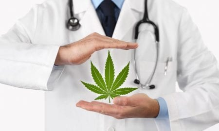 doctor with marijuana leaf