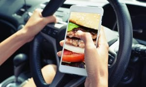 smartphone in car ordering food
