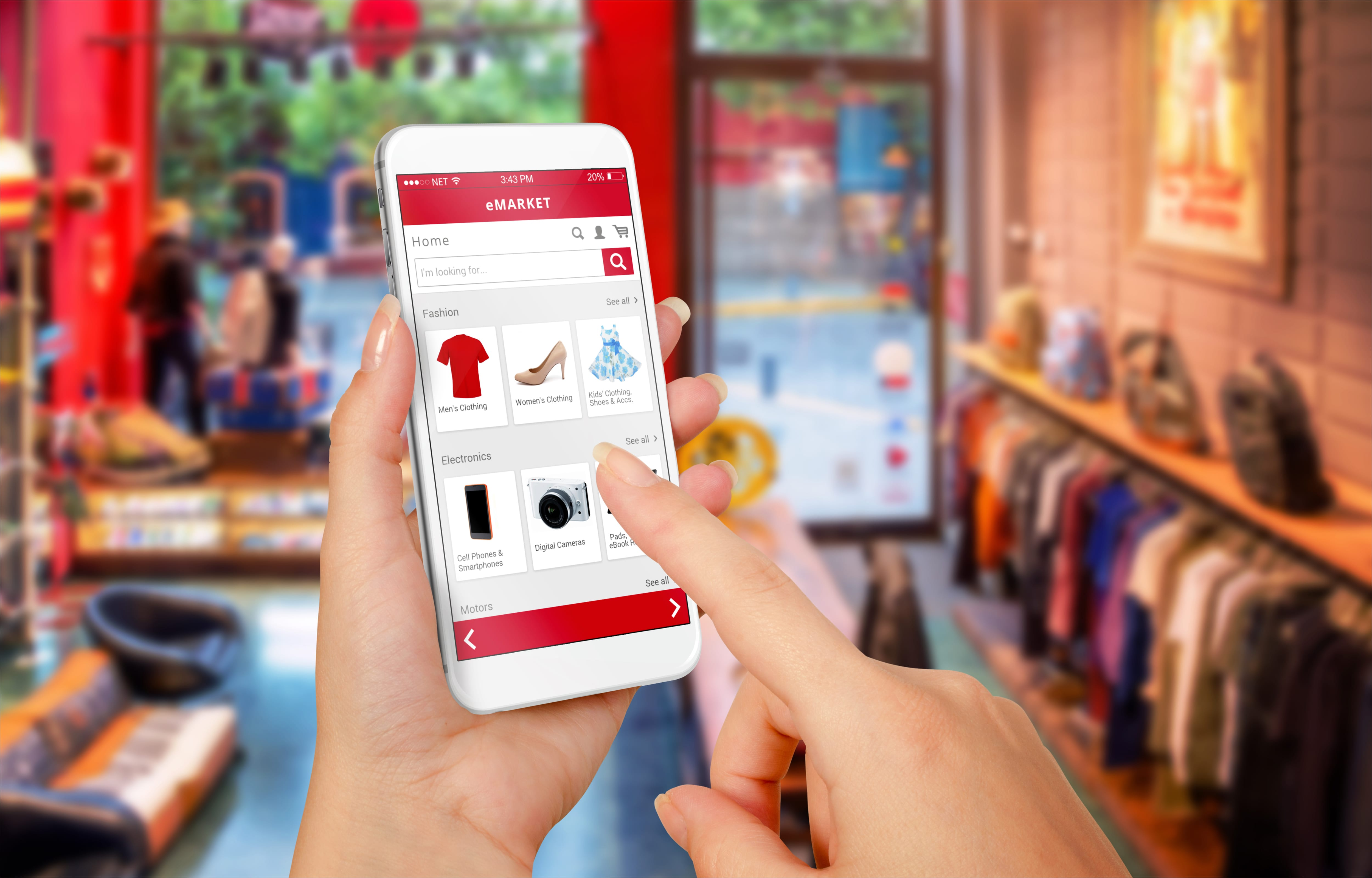 smartphone in store shopping