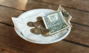 tip in cash and change