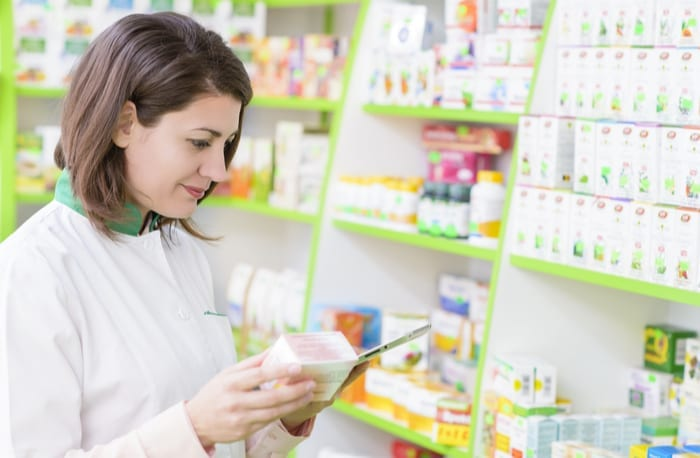 pharmacist with medications
