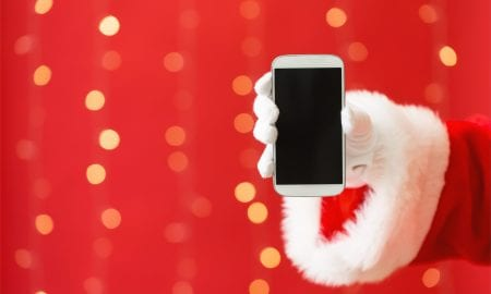 Santa with smartphone