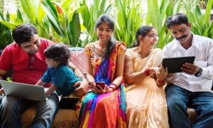 Indian family with laptops