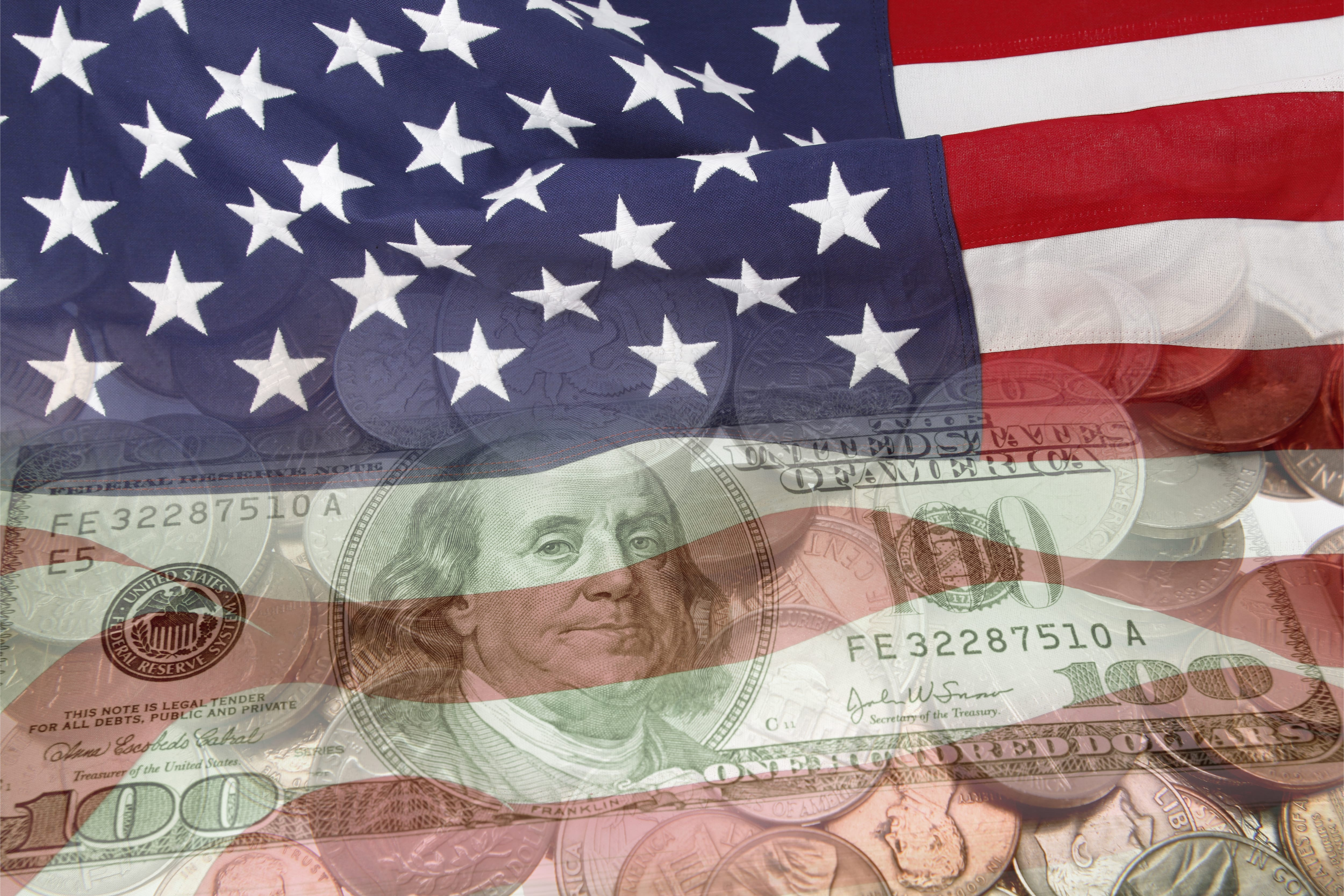 U.S. flag with currency