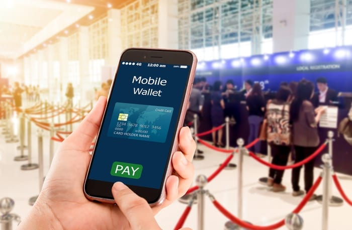 mobile wallet on smartphone