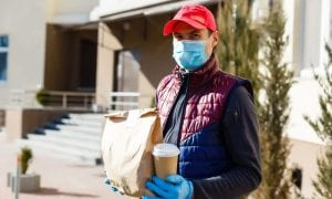 food delivery man with face mask