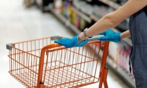 grocery cart, gloves