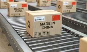 made in China boxes on conveyor belt