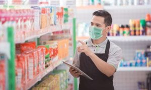 retail worker with mask