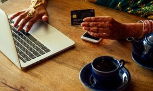 young consumer paying online