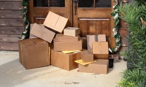holiday packages outside door